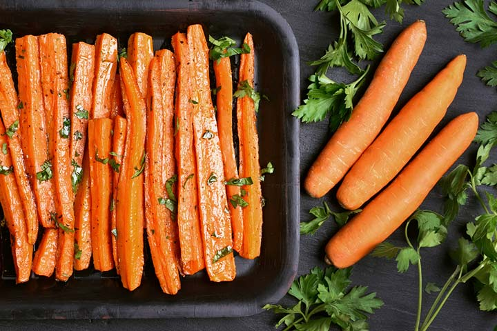 Cooked carrot sticks