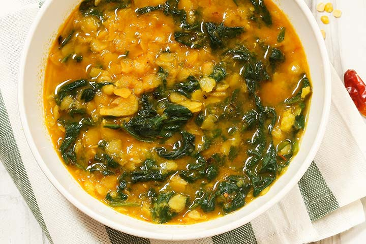 Spinach with lentil